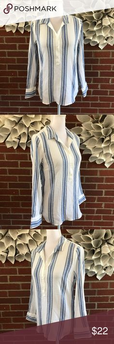 J. Crew LS 1/4 Button Down Cotton striped shirt !Please see photos for all details and measure! This item comes from a smoke free home!! No rips, tears holes or stains to note!! Fast shipping!! Buy confidently!! THANKYOU for looking!! Happy shopping J. Crew Tops Button Down Shirts