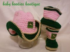 GIRLS JOHN DEERE COWBOY HAT & BOOTIES - PROFESSIONALLY HAND CROCHET