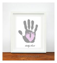 Gift for New Dad - Baby Footprint & Dad Hand Print - Personalized Gift for Dad - Baby's First Christmas - Lilac Nursery - gifts under 50. $40.00, via Etsy.