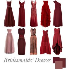Bridesmaids' Dresses | Marsala by pinkrubbersoul on Polyvore featuring Swing, Monique Lhuillier, Cushnie Et Ochs, Sophie Theallet, Adrianna Papell and coloroftheyear2015