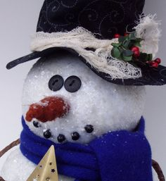 Snowman Tree Topper by Happy Valley by happyvalleyprimitive