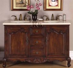 """High Quality 52"""" Bathroom Vanity with Marble Top & Double Sink"""
