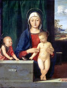 Andrea Solario (Italian, active 1495-1524):  Madonna and Child with St John