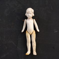 Vintage / Antique Jointed Bisque Doll with Molded Hair, Made in Germany, Numbered (c.1860s) N1