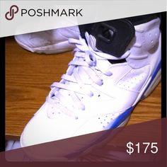 new arrival 97f8f 7abe1 100% Authentic Air Jordan Shoes Men Air Jordan 6 s WHITE BLUE SZ. 11