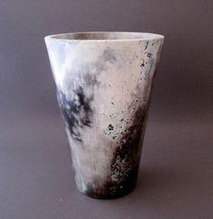 Raku Barrel Fired Vase. $60.00, via Etsy.