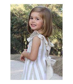 Vestido niña a rayas beige y blancas de Ancar