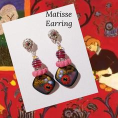 "Stunning earrings inspired by the Matiise painting "" The red room"". I pulled not just from the color palette but from the inspired textures created by the artist. Wire Wrapped Jewelry, Wire Jewelry, Beaded Jewelry, Henri Matisse, Wire Wrapping, Washer Necklace, Beading, Jewelry Making, Jewels"