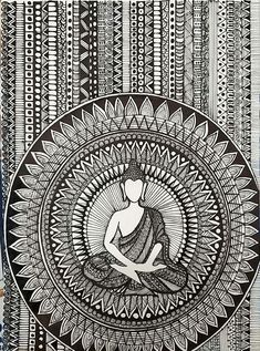 """""""The only person you need to believe in YOU is YOU""""💯 -Gautam Buddha🙏 Doodle Art Drawing, Dark Art Drawings, Art Drawings Sketches Simple, Mandala Drawing, Mandala Sketch, Mandala Art Lesson, Mandala Artwork, Buddha Painting, Buddha Art"""