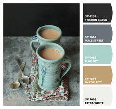 I heart tea w/milk in hand made blue green mugs