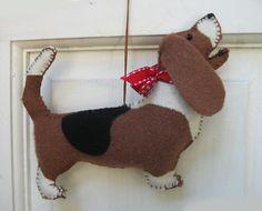 Basset Hound Wool Dog Friend Ornament - Handsewn, Two-sided Arroooooooo