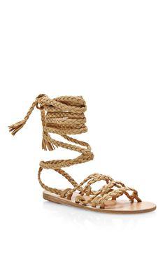 Kariatida Braided Strap Suede Sandals by Ancient Greek Sandals - Moda Operandi