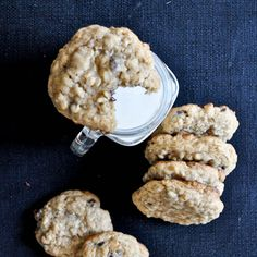 Chewy Chocolate Chip Oatmeal Cookies Recipe Desserts with butter, sugar, brown sugar, eggs, vanilla extract, all-purpose flour, rolled oats, salt, baking powder, cinnamon, chocolate chips, milk