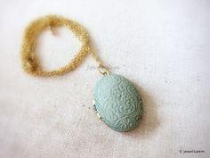 Locket Necklace Mint Pastel Green Locket Necklace by Jewelsalem