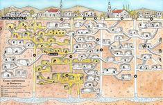 underground city Derinkuyu, ancient underground city: Derinkuyu, Mysterious ruined cities: derinkuyu in Turkey, Mysterious ruined cities, de...