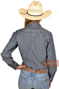 Camisa manga longa Feminina Jeans Cowgirl Up Camisa feminina 0247ced7ac4