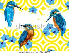 Seamless hand drawn pattern with blue birds and orchids. Romantic texture. Vector summer background. Perfect for wallpapers, pattern fills, web page backgrounds, surface textures, textile