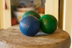 SALE Antique Wood Croquet Balls Vintage Orbs by VandyleeVintage