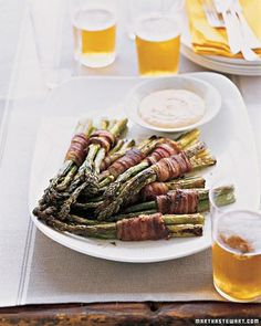 Bacon-Wrapped Asparagus Bundles with Spicy Dipping Sauce Recipe