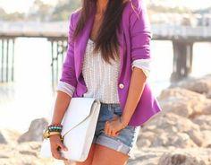 oversized clutch and bright blazer
