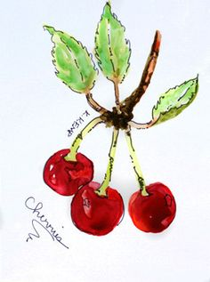 Red Cherries on Stem with Leaves in Watercolor and Ink on Yupo Paper