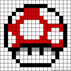 Mushroom Mario perler bead pattern template – Famous Last Words Quilting Beads Patterns Perler Beads, Perler Bead Mario, Fuse Beads, Perler Bead Designs, Pearler Bead Patterns, Perler Patterns, Pixel Art Champignon, Pixel Art Mario, Super Mario