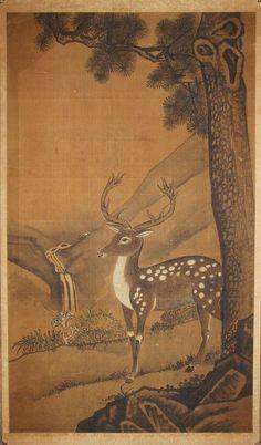 Very Large/Rare/Fine Deer under an Old Pine Tree; 19th C.: Korea, Joseon dynasty