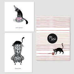 2 tarjetas de felicitación y cuaderno Gatto filo