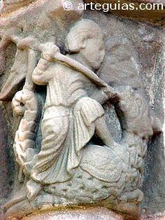 """DRAGONES    """"Capitel de la portada de Navarrete"""" jjunto a Logroño).   Son los más genuinos enemigos de Dios y el hombre. Son símbolos demoniacos.  Su representación en el románico se aleja bastante de las formas que las leyendas nórdicas de siglos posteriores han hecho llegar hasta nuestros días.  El dragón románico, aunque conceptualmente es un tipo de serpiente alada, se muestra en el arte románico más bien como una especie de ave bípoda con cabeza perruna de grandes ojos y cuencas…"""