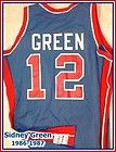 For Sale - Sidney Green 1986-1987 Game Worn Sand-Knit Rd Blue Detroit Pistons Jersey   UNLV