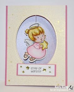 """Art Impressions Rubber Stamps: Ai Spinners: """"Angel Spinner"""" (#4673) and the """"Angel Spinner Die"""" (#4692) ... handmade Christmas card."""