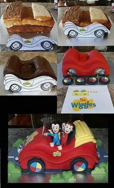 The wiggles car cake Wiggles Birthday, Wiggles Party, 3rd Birthday, Wiggles Cake, The Wiggles, Cake Decorating Techniques, Cake Decorating Tutorials, Fondant Cakes, Cupcake Cakes