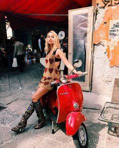 Image may contain: 1 person, sitting and motorcycle Red Vespa, Vespa Bike, Motos Vespa, Piaggio Vespa, Lambretta Scooter, Scooter Motorcycle, Motorbike Girl, Vespa Scooters, Motor Scooters