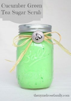 Want silky smooth skin and to smell amazing? This is a fabulously easy Cucumber Green Tea Sugar Scrub made with only 3 ingredients.