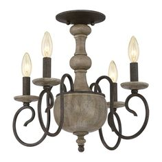 Quoizel Castile 18-in W Rustic black No Shades Semi-Flush Mount Light