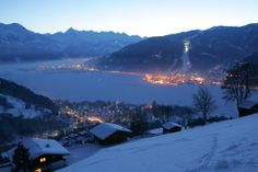 Zell am See - Kaprun - beautiful village by night at the pretty lake in wintertime
