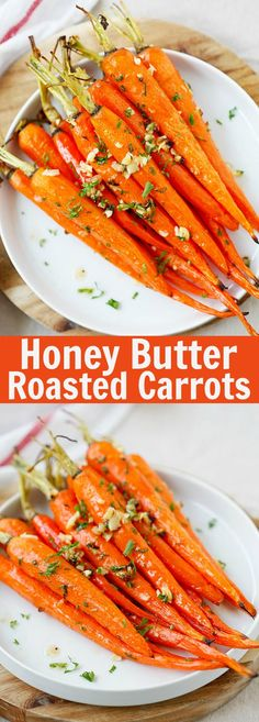 Honey garlic butter roasted carrots are so easy to make and delicious! With a pinch of cracked black pepper and Kosher salt, it makes the perfect side for a weeknight meal or a holiday crowd. Carrot Recipes, Vegetable Recipes, Vegetarian Recipes, Cooking Recipes, Healthy Recipes, Side Dish Recipes, Easy Dinner Recipes, Easy Meals, I Love Food