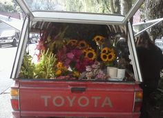 I literally stumbled on this truck full of flowers being delivered to the garden/florist shop right next door to my favorite coffee shop, Fehrenbacher Hof, in Goose Hollow.  How could I not take such a fortuitous image on such a beautiful day in Indian summer?