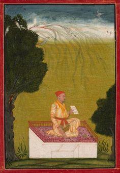 Raja Dalip Singh of Guler on a Dias, c. 1720 India, Pahari, Bilaspur, 18th century