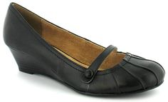 """""""Kristina 2"""" black leather wedge shoe - by The Leather Collection at Wynsors, £12. I'm not all that keen on wedges as a style, but at 3.5 cm I could probably handle that heel."""