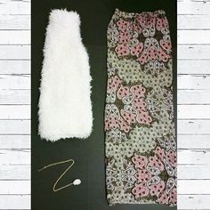 Our #OOTD! Inside one of our #southcarolina customer's StyleBox #6! Stay stylish this fall with a white  fur vest, printed maxi skirt, and a natural white stone necklace! #fashion #fur #friday #gno #ladiesstylebox #paisley #tgif