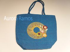 Aplicación para bolso Craft Bags, Lace Making, Reusable Tote Bags, Pillows, Patterns, Denim, Fashion, Bobbin Lace, Bouquets