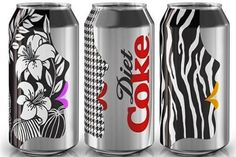 Diet Coke is releasing three different cans featuring floral, zebra and houndstooth prints on female face profiles.