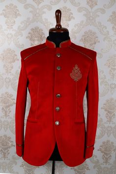 d2e563e34000e  Red italian  embroidered marvellous slim fit  suit with mandarin collar  -ST387 Mens