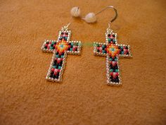 Native American Style loom beaded Cross Earrings by DebsVisions