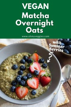 Looking for a convenient and healthy breakfast? These creamy vegan overnight oats take about 5 minutes to whip up, and get boosts in both flavor and nutrition from powdered matcha green tea and ripe summer berries. Oats Recipes, Baking Recipes, Vegan Overnight Oats, Baking School, Baking Basics, Summer Berries, Gluten Free Cookies, Vegetarian Cooking, Holiday Baking