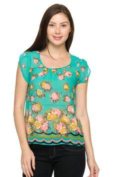 Floral print chiffon top.
