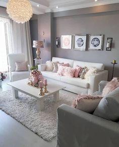 Romantic Living Room, Glam Living Room, Living Room Decor Cozy, Bedroom Decor, Living Room Goals, Living Room Decorating Ideas, Gray Bedroom, Blush Pink Living Room, Wall Decor