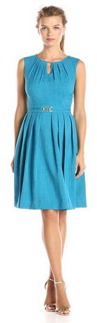 Sleeveless Pleated Skirt Fit and Flare Dress with Cutout