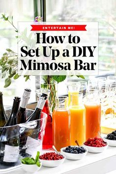 Use these tips to set up a DIY mimosa bar for weekend brunch, wedding or bridal shower, and make it easy for the hostess to relax as guests help themselves. Mimosa Party, Mimosa Brunch, Brunch Bar, Brunch Decor, Brunch Drinks, Brunch Food, Brunch Recipes, Sunday Brunch, Drink Recipes